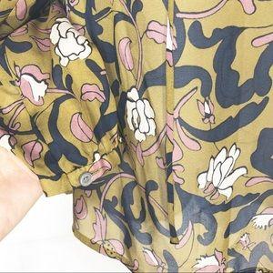 LOFT Tops - Loft V Neck Floral Olive career style Blouse XS